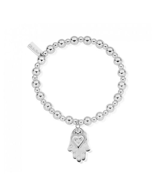 ChloBo - Metallic Mini Small Ball Bracelet With Hamsa Hand Charm - Lyst