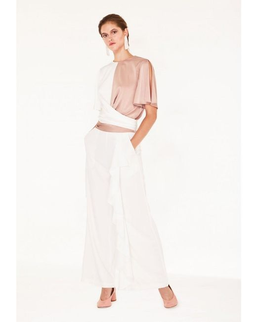 df3f6e0ae929cc Paisie - Two-tone Satin Wrap Top With Tie Waist & Split Sleeves In Dusty ...
