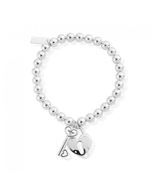 ChloBo - Metallic Small Ball Lock & Key Bracelet - Lyst