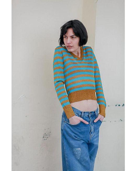 Happy Sheep - Blue Lurex Knit Stripe Pullover - Lyst