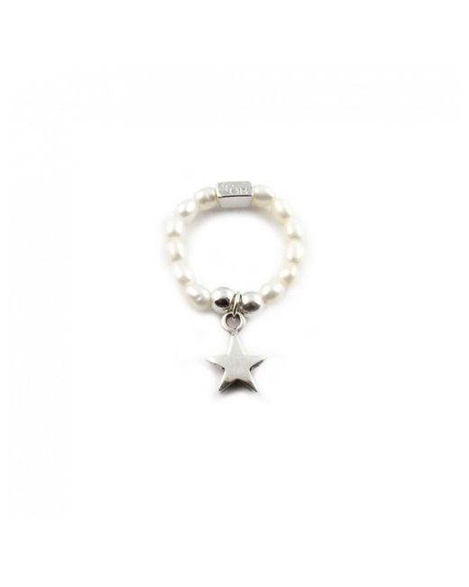 ChloBo - Metallic Pearl Ring With Star Charm - Lyst