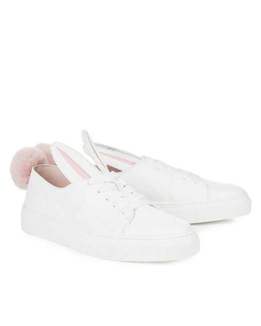 Minna Parikka | Pink White Leather Bunny Ears & Faux Fur Tail Sneakers - White | Lyst