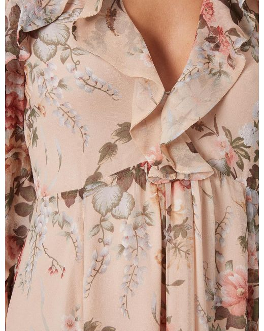 Zimmermann Nude Silk Floral Ruffle Dress In Natural  Lyst-4465