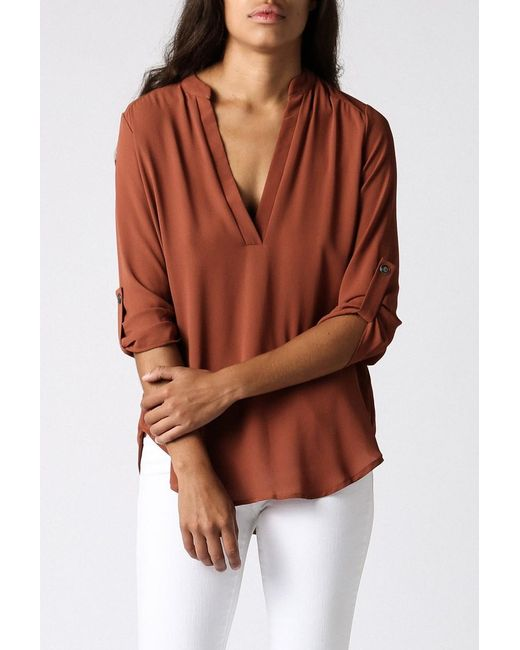 Azalea | Brown Laguna Roll Sleeve Tunic | Lyst