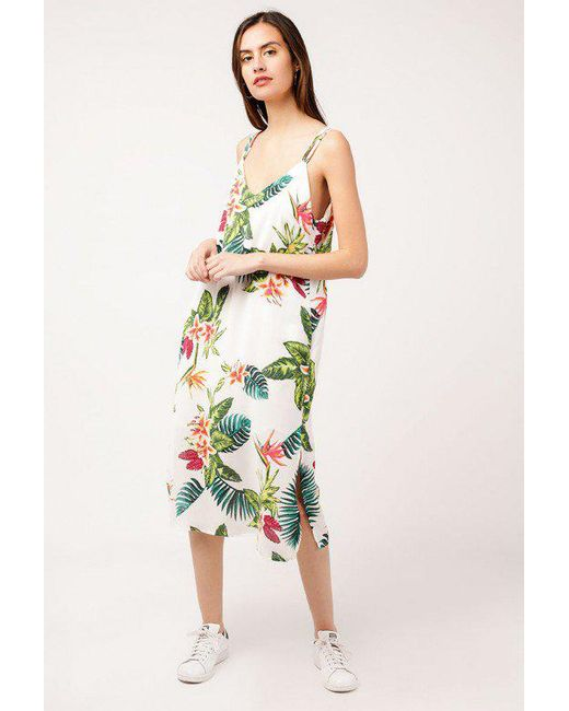 Azalea - Green Tropical Strappy Midi Dress - Lyst