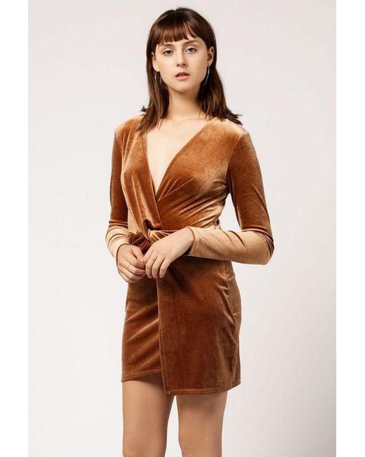 Azalea - Brown Velvet Twist Long Sleeve Mini Dress - Lyst