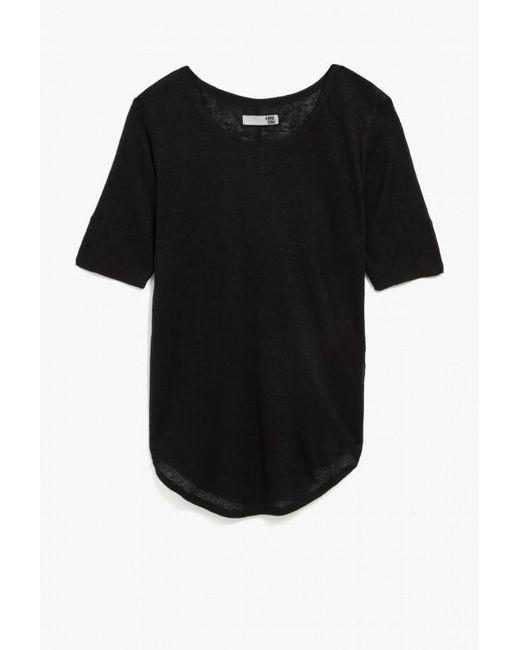 Anine Bing | Black Boat Neck T-shirt | Lyst