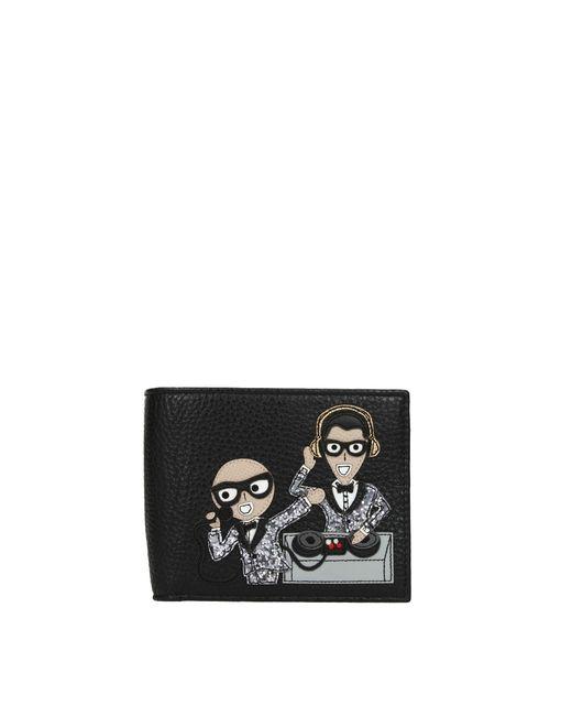 Dolce & Gabbana Black Wallets Patch D&g Family Men for men
