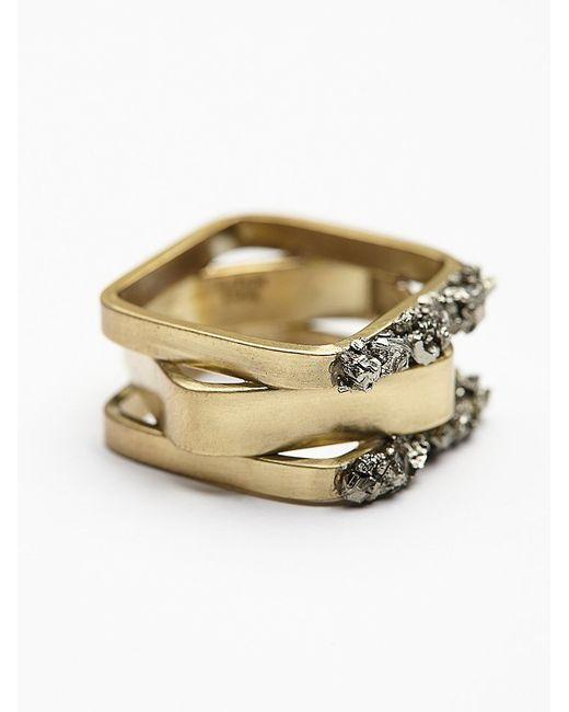 Free People | Metallic Pyrite Mixed Shape Ring | Lyst