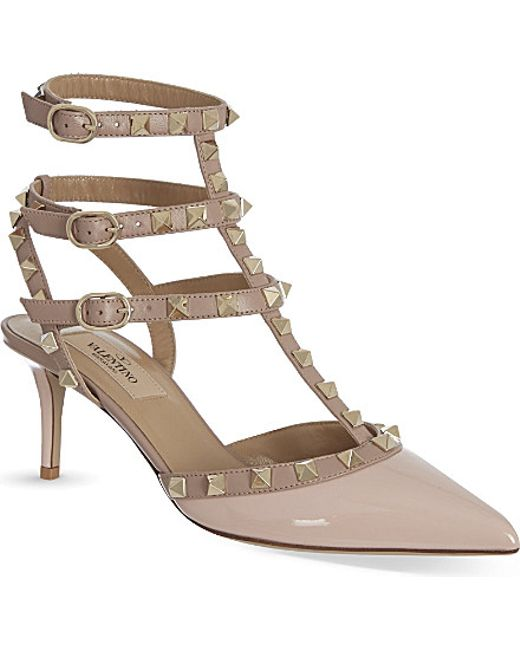 Valentino | Beige Rockstud Patent Leather Pumps | Lyst