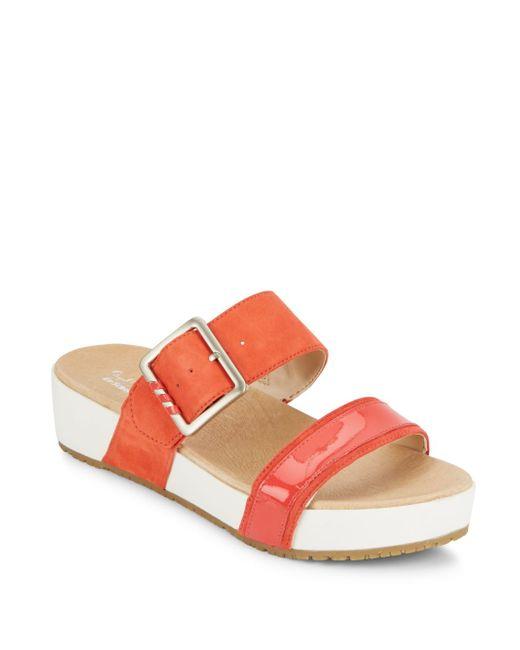 Dr. Scholls   Red Frill Slide Sandals   Lyst