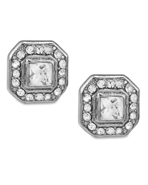 Carolee | Metallic Silver-tone Square Button Stud Earrings | Lyst