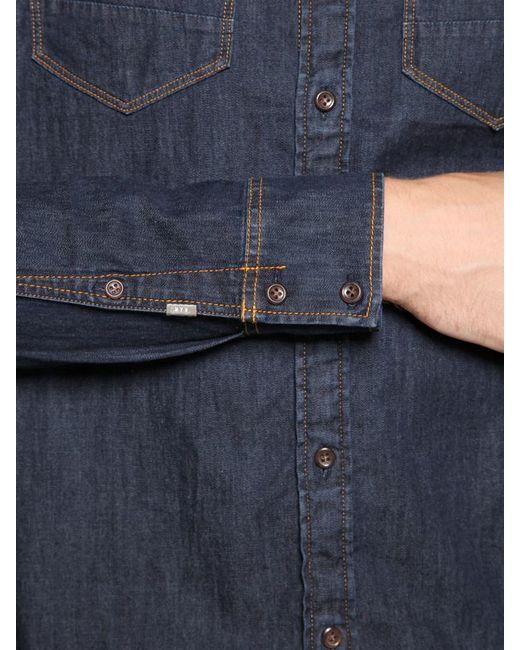 g star raw arc 3d light cotton stretch denim shirt in blue. Black Bedroom Furniture Sets. Home Design Ideas