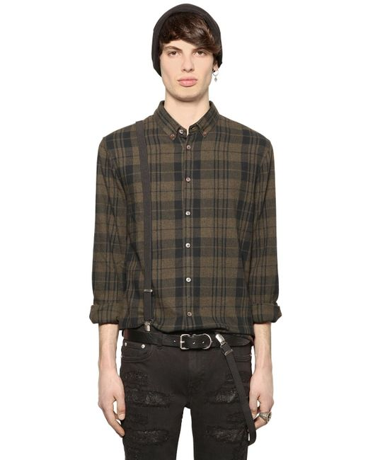 Blk Dnm Plaid Cotton Flannel Shirt In Green For Men Green