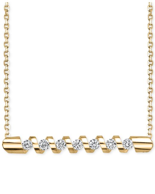 Sirena Energy Diamond Twist Bar Necklace 1 4 Ct T W In 14k Gold Or White Gold In Metallic Lyst