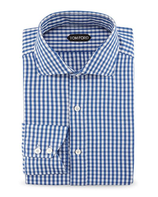 Tom ford gingham button down shirt in blue for men save for Blue gingham button down shirt