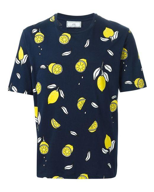 Ami lemon print t shirt in blue for men save 50 lyst for Vista print tee shirt