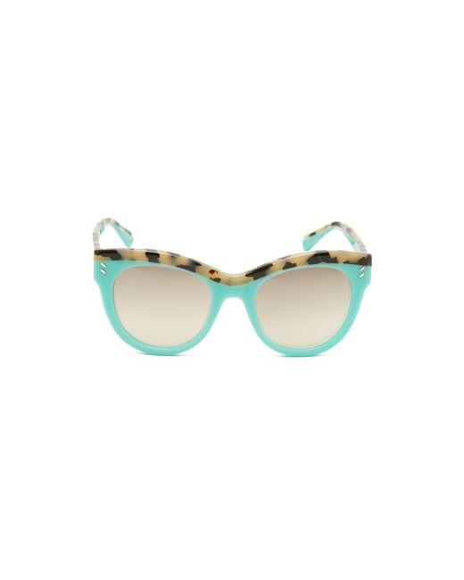 stella mccartney top accent cat eye sunglasses in teal