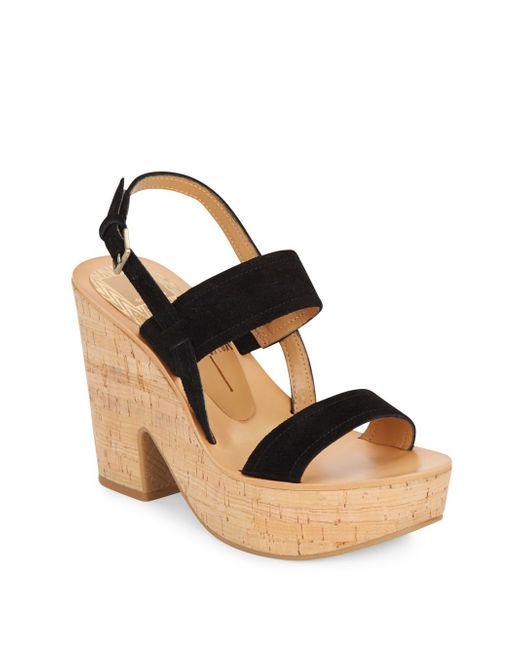 dolce vita rosa suede platform sandals in black save 83