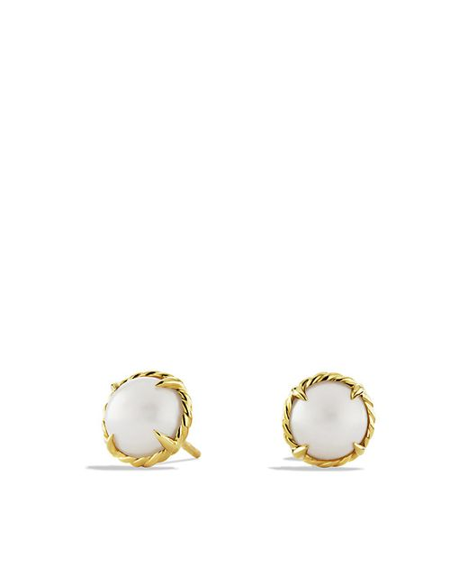 David Yurman | White Chatelaine Earrings With Pearl In 18k Gold | Lyst