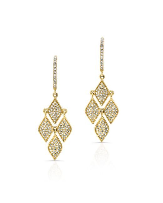 Anne Sisteron | Metallic 14kt Yellow Gold Diamond Mini Marquis Earrings | Lyst