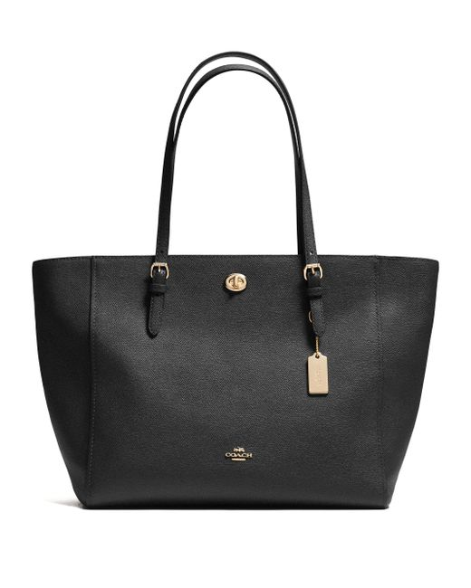 COACH | Black Textured Leather Tote | Lyst