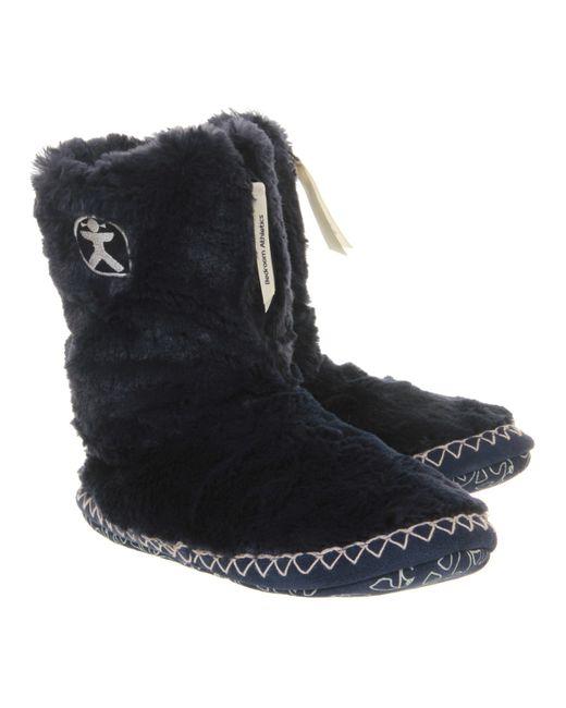 Bedroom Athletics Marilyn Iii Slipper Boots In Black Navy