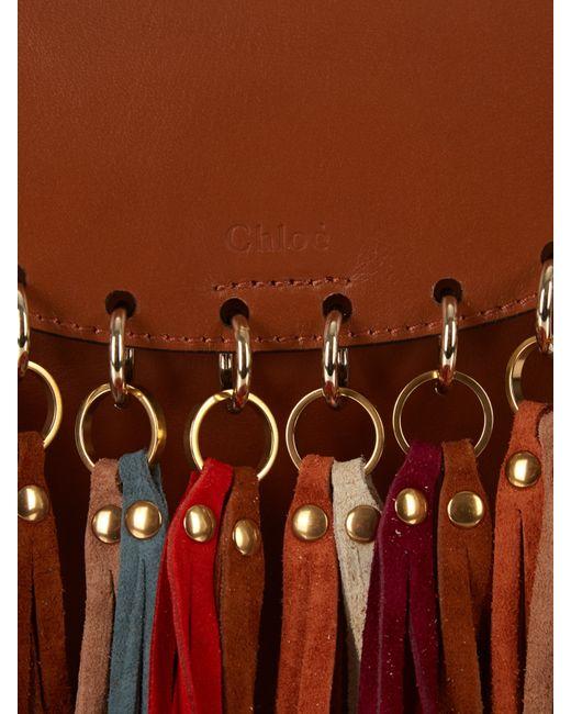 Chlo¨¦ Hudson Suede Tassel Leather Cross-Body Bag in Brown (TAN) | Lyst