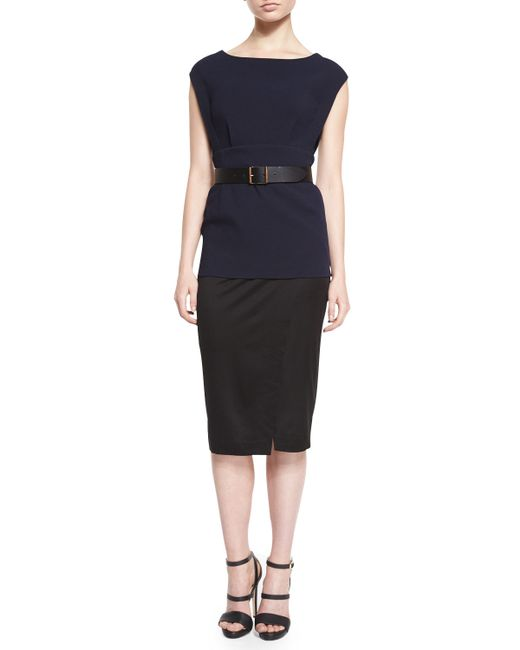 donna karan cap sleeve colorblock belted tunic dress in