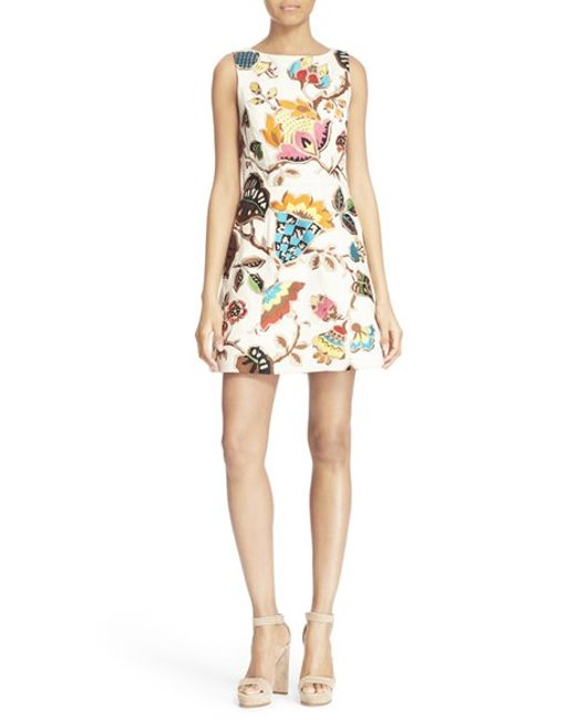 Alice Olivia lindsey Pouf Embroidered Sheath Dress In Beige CREAM