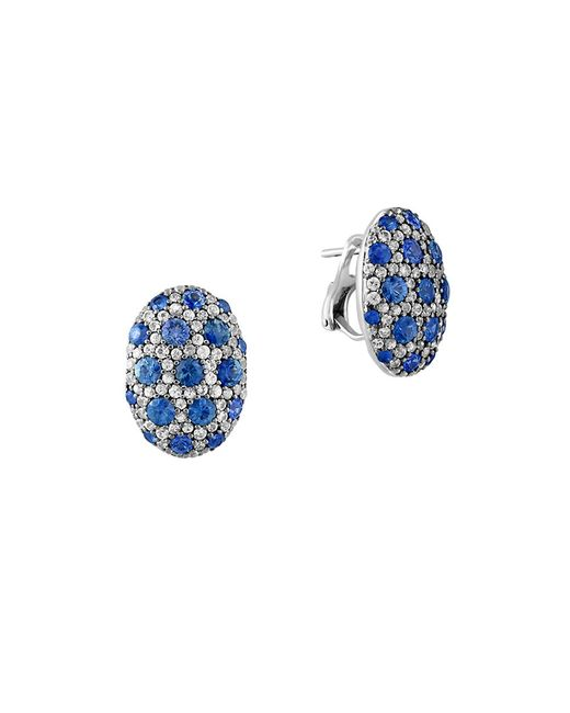 Effy | Blue 925 Sterling Silver And Bicolor Sapphire Button Earrings | Lyst