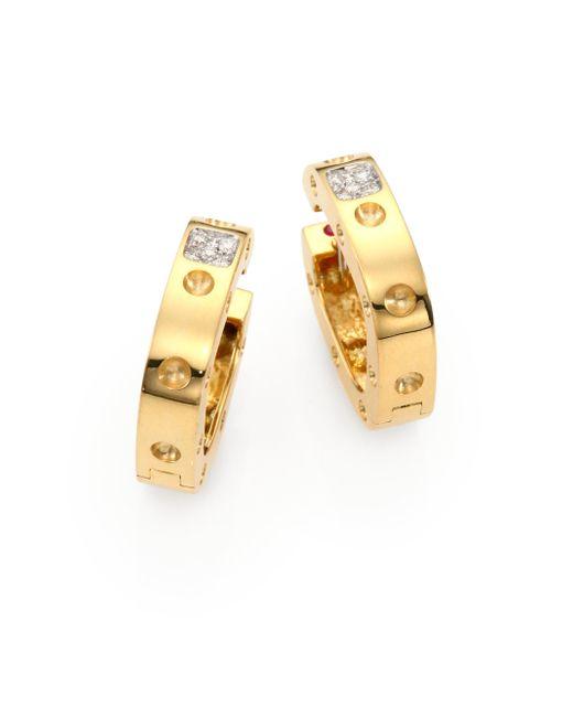 Roberto Coin | Metallic Pois Moi Diamond & 18k Yellow Gold Hoop Earrings/0.75 | Lyst