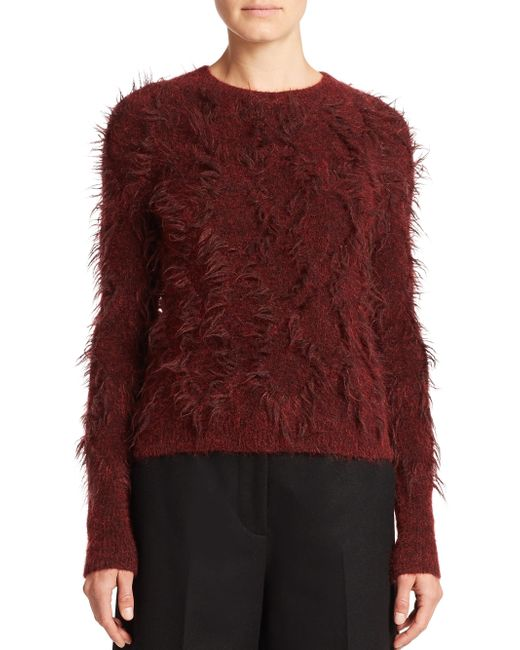 3.1 Phillip Lim | Red Distressed Diamond Knit Sweater | Lyst