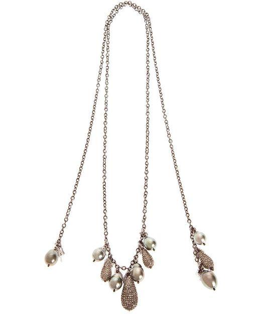 Samira 13 | Black Tahitan Pearl And Pave Diamond Encrusted Necklace | Lyst