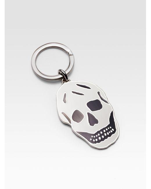Alexander mcqueen Two-tone Enamel Skull Key Ring in Black ...