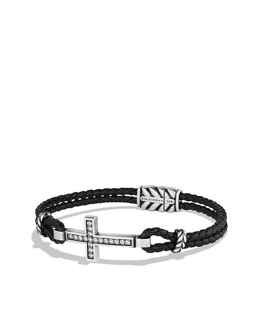David Yurman | Black Pavé Cross Bracelet With Gray Sapphire for Men | Lyst