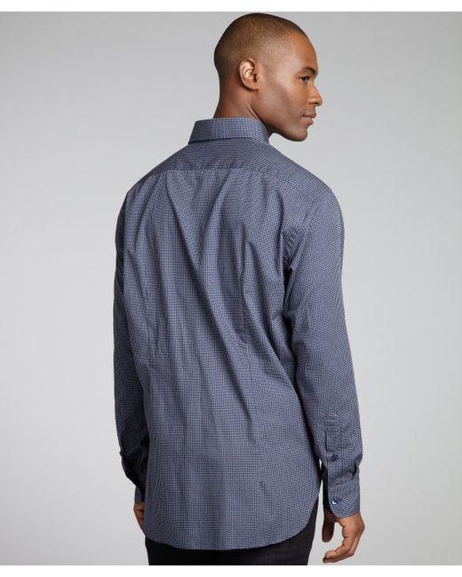 Brioni Navy Broken Link Print Cotton Button Down Shirt In