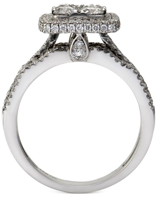 Macy s Diamond Square Halo Engagement Ring 1 1 2 Ct T w In 14k White