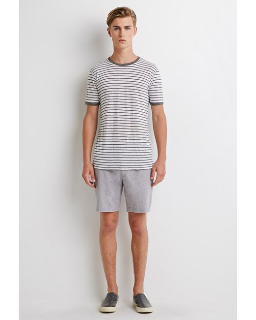 Forever 21 | Gray Linen-blend Chambray Shorts for Men | Lyst