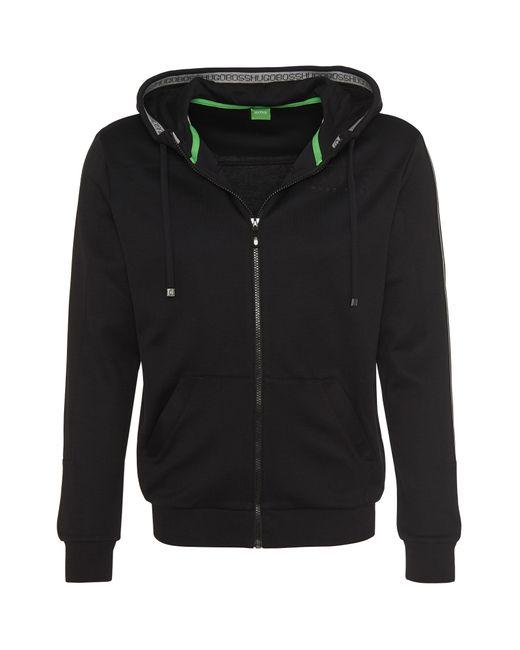 BOSS Green | Black Hooded Sweatshirt Jacket 'saggy' In Cotton Blend for Men | Lyst