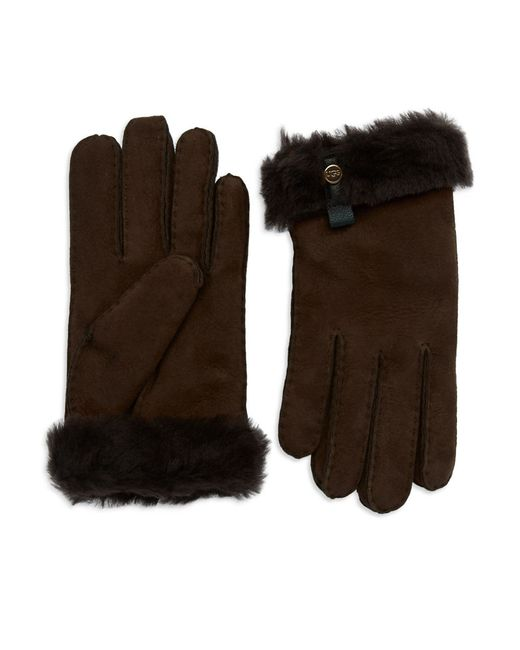 Ugg | Brown Leather Trim And Shearling Cuff Tenney Gloves | Lyst