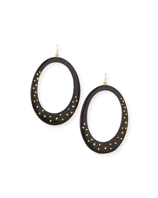 Ashley Pittman | Black Mzima Studded Oval Drop Earrings | Lyst