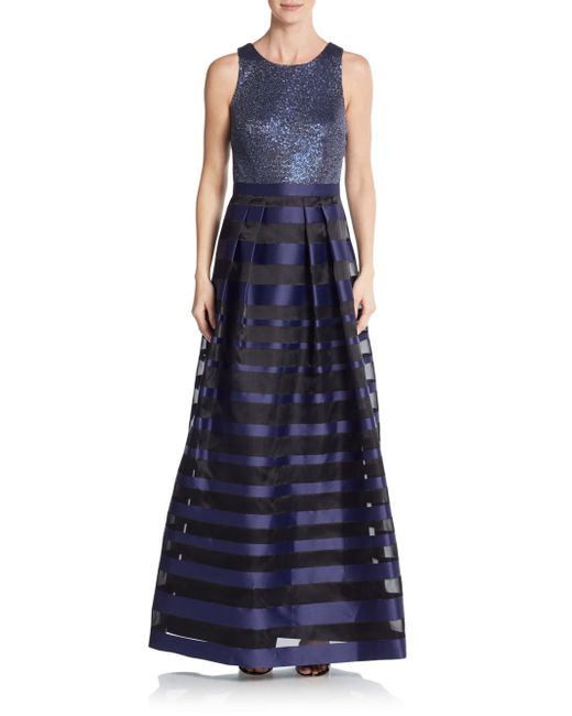 Kay Unger   Blue Sequin & Stripe A-line Gown   Lyst