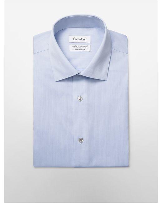 Calvin klein white label steel regular fit non iron for White herringbone dress shirt