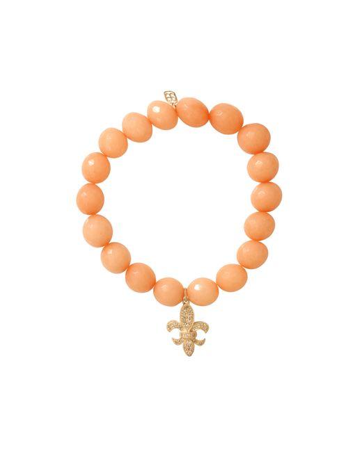 Sydney Evan | Orange Diamond Fleur De Lis Beaded Bracelet | Lyst