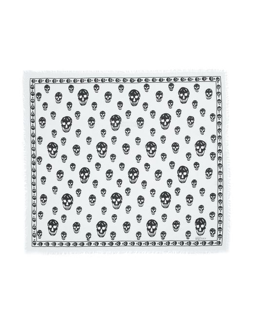 Alexander McQueen   Multicolor Ivory and Black Silk Skull Printed Scarf   Lyst