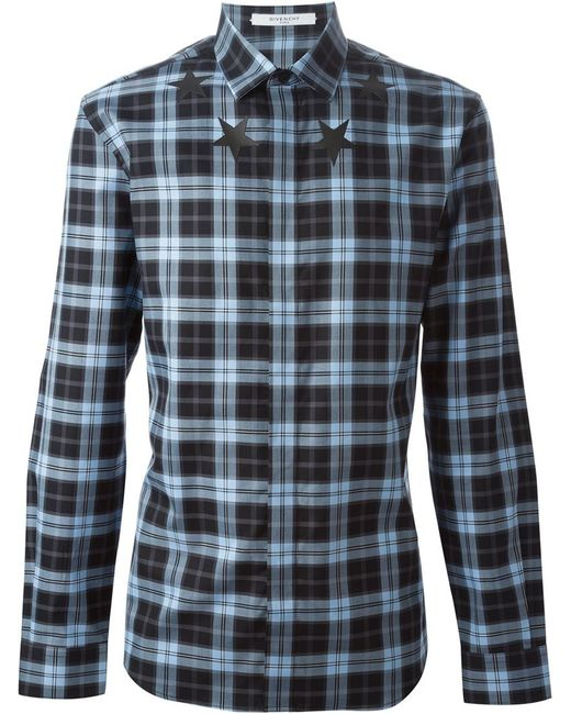 Givenchy   Blue Checked And Red-Panel Shirt for Men   Lyst