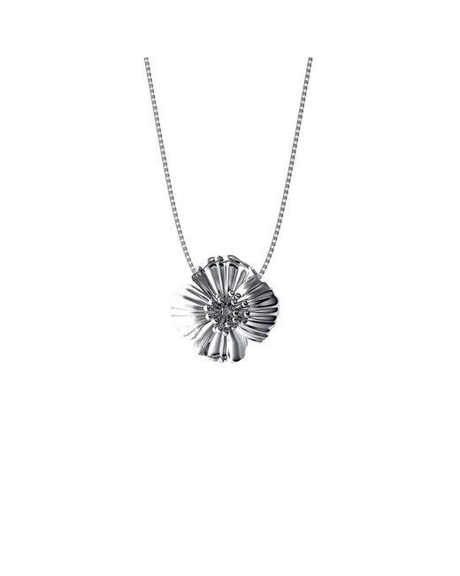 Azendi | Metallic Sterling Silver Poppy Pendant | Lyst