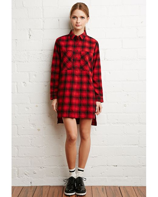 Forever 21 | Red Tartan Plaid Flannel Dress | Lyst