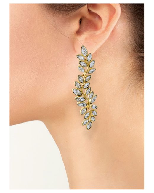 Kenneth Jay Lane | Metallic Crystal Leaf Clip Earring | Lyst